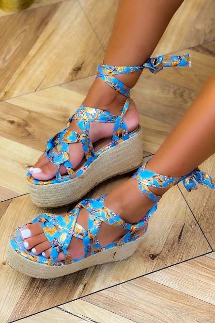 Chaussures Compensées Femme Imprimées Bleu / Réf : 6696-6
