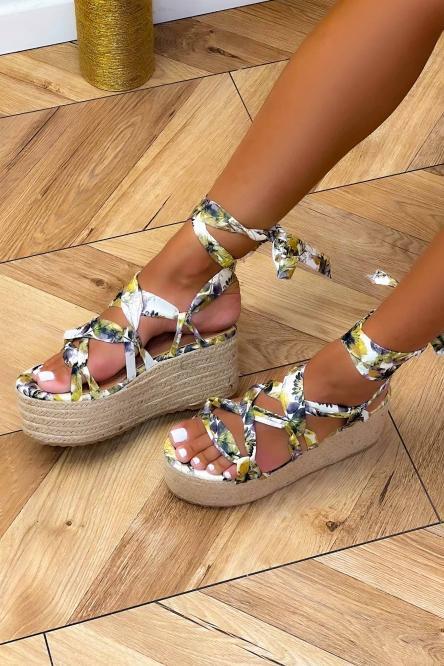 Chaussures Compensées Femme Imprimées Vert Clair / Réf : 6696-17