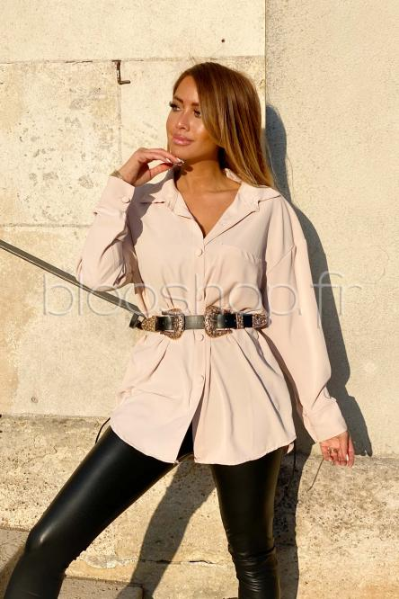 Chemise Femme Ample + Poche Beige