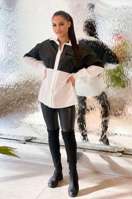 Chemise Femme Bimatière Noir / Réf : 8111-0