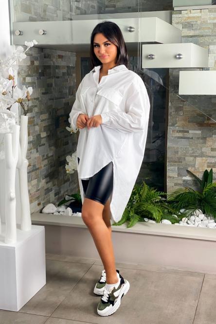 Chemise Femme Oversize Poches Blanc / Réf : 5213-1