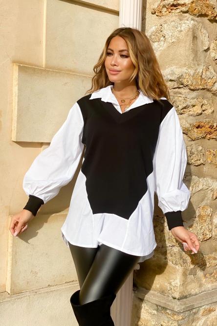 Chemise Femme Pull Noir / Réf : 7399-0