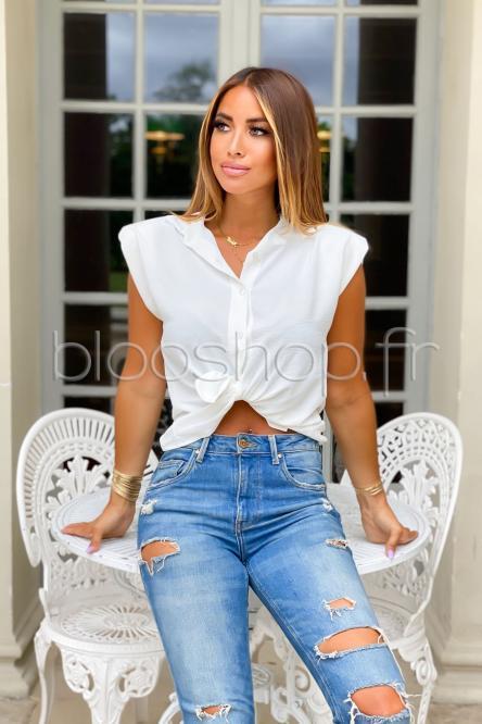 Chemise Femme Sans Manche Blanc / Réf : 5329