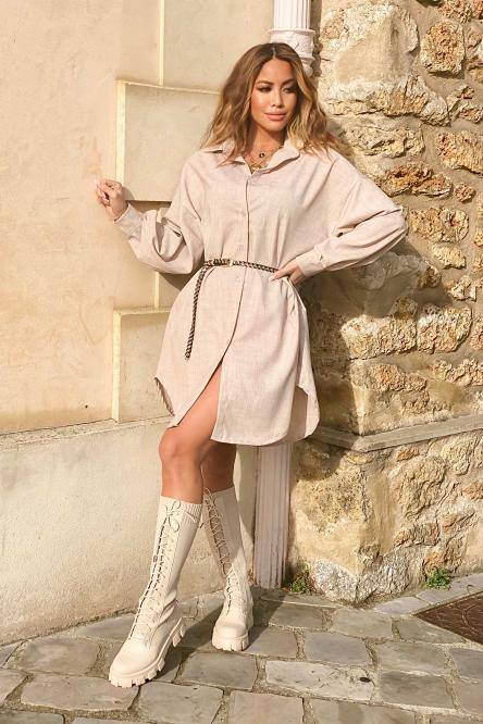 Chemise Robe Femme Ample Beige / Réf : 6818-2