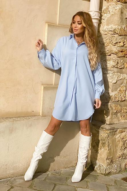Woman Shirt Dress Light Blue