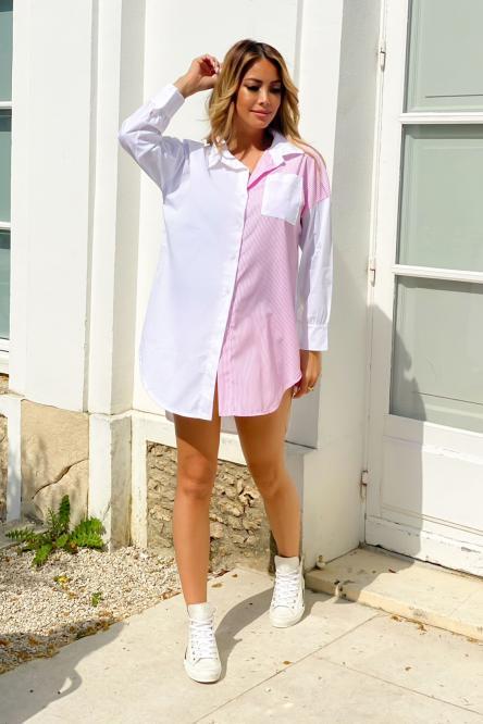 Chemise Robe Femme Rayée Rose / Réf : 8339-9