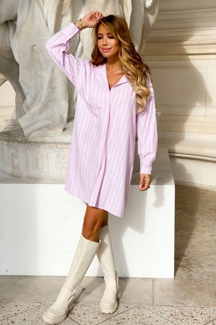 Chemise Robe Femme Rayée Rose / Réf : 9258-9