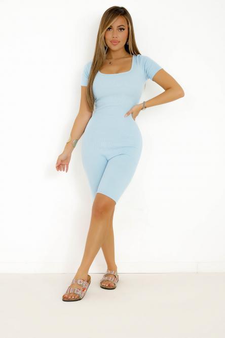 Combinaison Cycliste Femme Dos Laçage Bleu / Réf : 5553