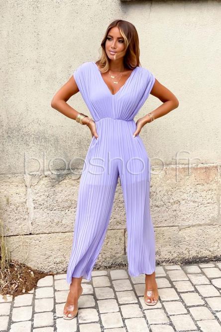 Combinaison Femme Plissée Violet / Réf : 3599