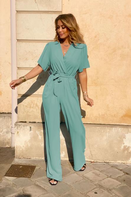 Combinaison Pantalon Femme Ample Vert Clair / Réf : 5133-17