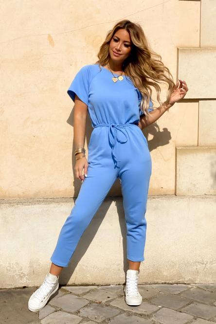 Combinaison Pantalon Femme Nouée Bleu / Réf : 1815-6