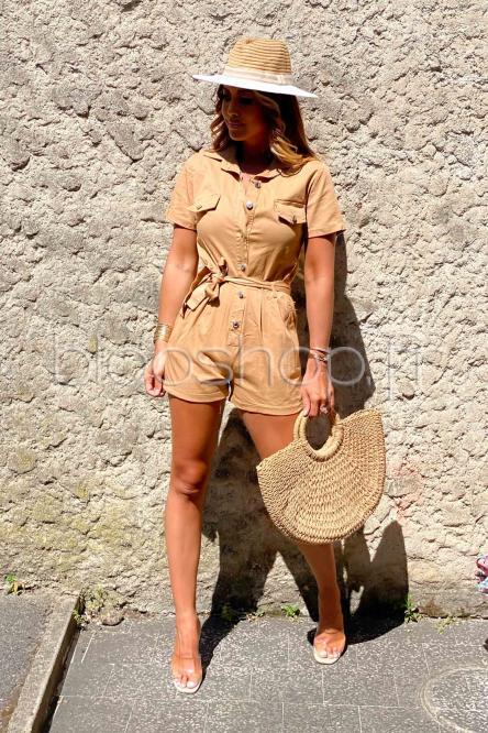 Combishort Femme Cargo Camel / Réf : 653