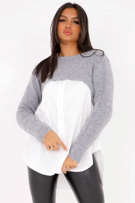 Woman Pullover Light Grey