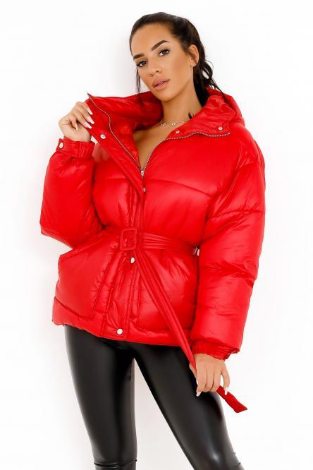 Doudoune + Ceinture Femme Rouge / Réf : 8300