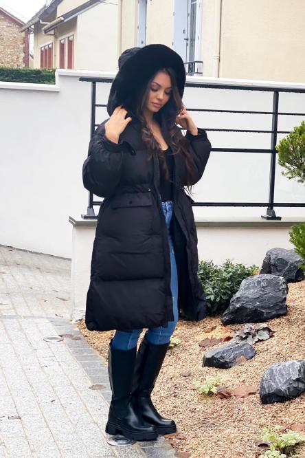 Doudoune Femme Longue Cintrée Noir / Réf : 9030-0