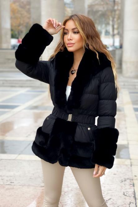 Doudoune + Fur Femme Noir / Réf : 2020