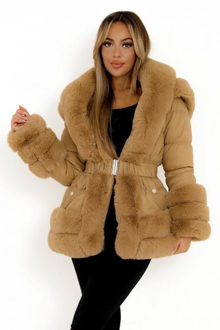 Doudoune + Fur Femme Taupe / Réf : 2020