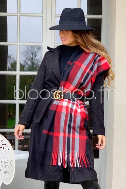 Echarpe Femme Carreaux Noir - Rouge / Réf : FA2216