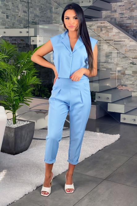 Ensemble Femme Blazer + Pantalon Bleu / Réf : 7617-6