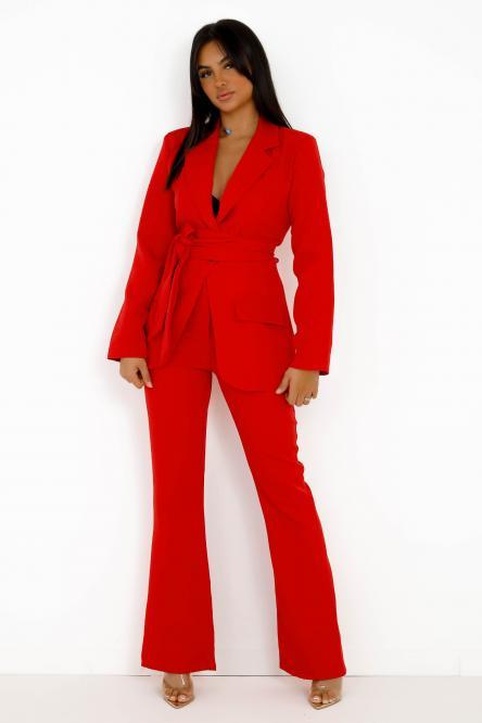 Ensemble Femme Blazer + Pantalon Rouge / Réf : 8010-20