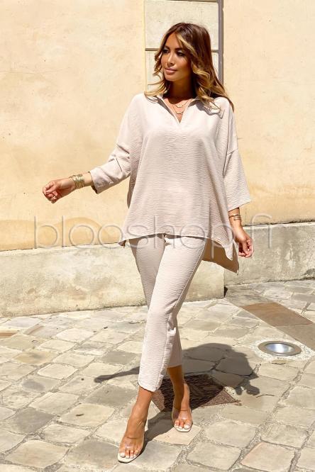Ensemble Femme Chemise + Pantalon Ample Beige / Réf : 8555-2