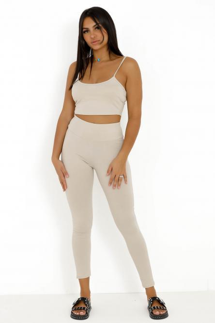 Ensemble Femme Débardeur Court + Legging Beige / Réf : 5413