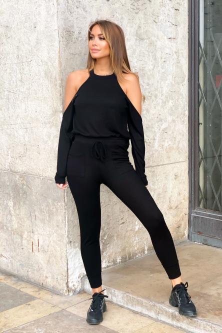 Ensemble Femme Pull + Pantalon Noir / Réf : 7120-0