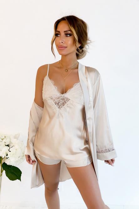 Ensemble Femme Pyjama 3 Pièces Beige / Réf : 3175-2