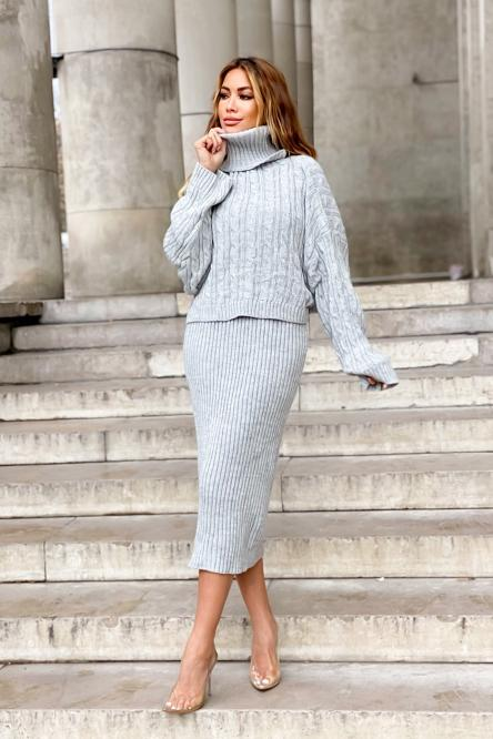 Ensemble Femme Robe + Pull Maille Gris