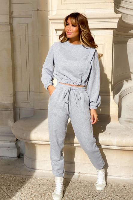 Ensemble Femme Sweat + Jogging Gris Clair