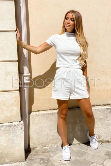 Ensemble Femme T-Shirt + Short Molleton Blanc / Réf : 7282