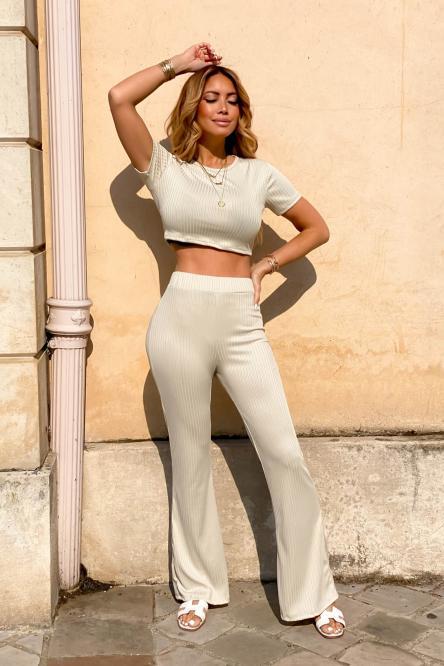 Ensemble Femme Top + Pantalon Beige / Réf : 6287-2