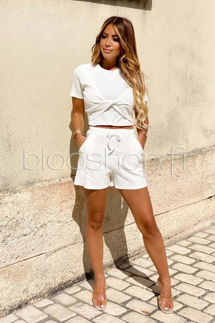 Ensemble Femme Top + Short Blanc