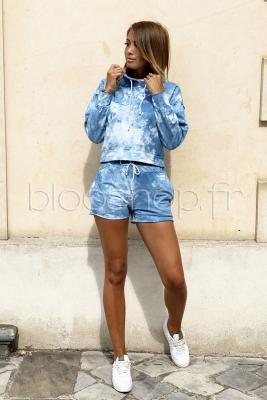 Ensemble Sweat + Short Femme Bleu