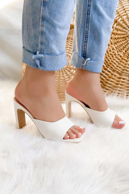 Escarpins Femme Ouverts Blanc / Réf : 3C-1