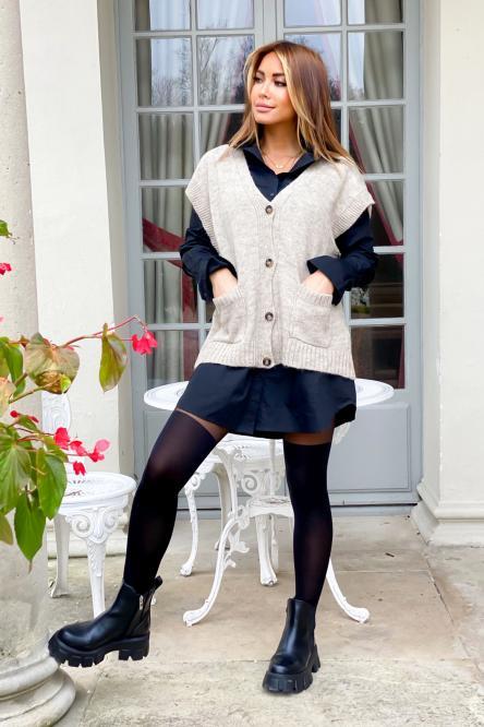 Gilet Femme Maille Sans Manches Beige / Réf : 9876