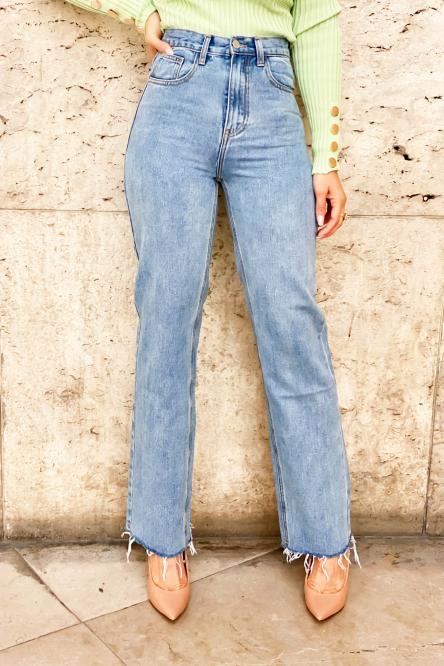 Jeans Femme Bas Effiloché Bleu Clair / Réf : 1262-31