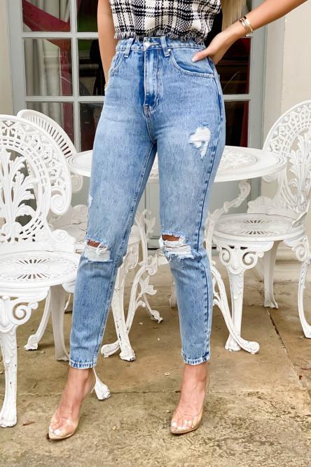 Jeans Femme Coupe Mom Délavé Déchiré Bleu / Réf : 1103-32