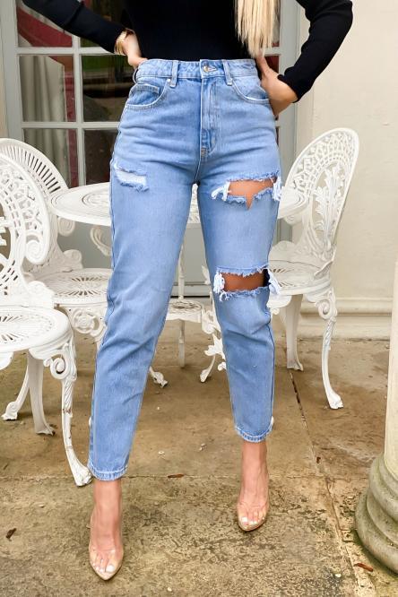 Jeans Femme Coupe Mom Troué Bleu Clair / Réf : 1101-31
