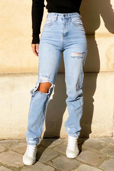 Jeans Femme Droit Troué Bleu Clair / Réf : 1258-31