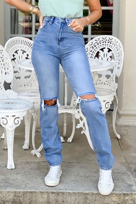 Jeans Femme Droit Troué Bleu / Réf : 1259-32
