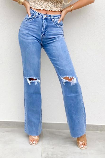 Jeans Femme Évasé Déchiré Bleu / Réf : 1294-6