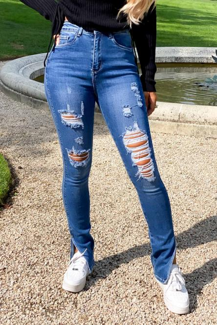 Jeans Femme Fendu Destroy Bleu / Réf : 5853