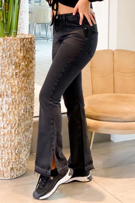 Jeans Femme Flare Fendu Noir / Réf : 1287-0