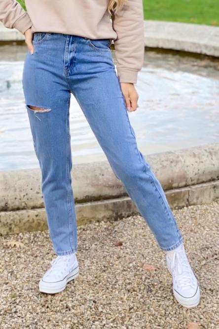 Jeans Femme Mom Déchiré Bleu / Réf : 438