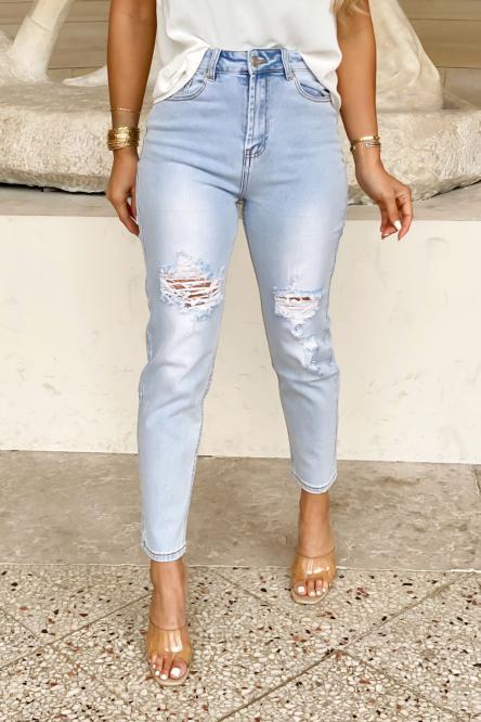 Jeans Femme Mom Destroy Bleu Clair / Réf : 1303-31