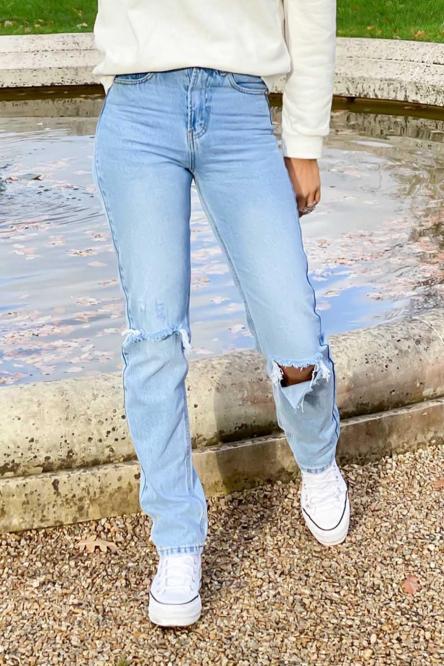 Jeans Femme Mom Genoux Troués Bleu / Réf : 1238