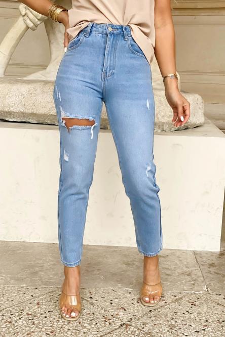Jeans Femme Mom Troué Bleu Clair / Réf : 462-31