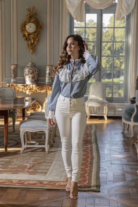 Jeans Femme Skinny Boutonné Blanc / Réf : 5769