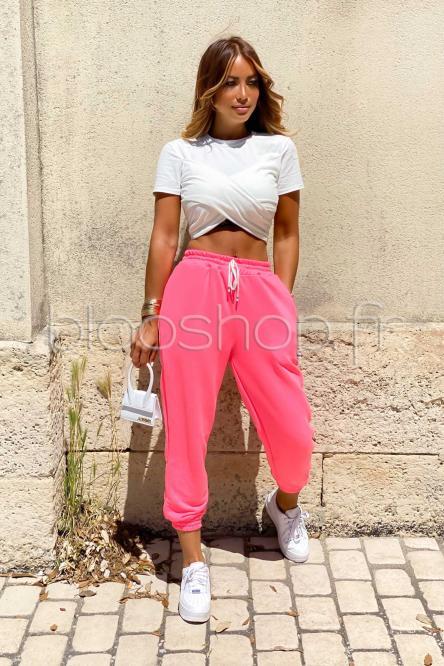 Jogging Femme Taille Haute Rose Fluo / Réf : 3383